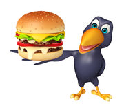 Crow cartoon character with bueger Stock Images