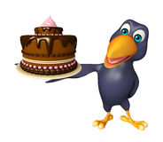 Crow cartoon character  with cake Stock Photography