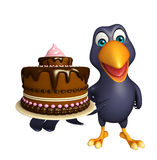 Crow cartoon character  with cake Royalty Free Stock Images