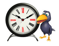 Crow cartoon character with clock Royalty Free Stock Images
