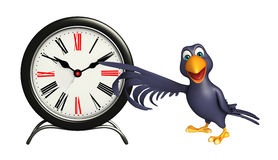 Crow cartoon character with clock Royalty Free Stock Image