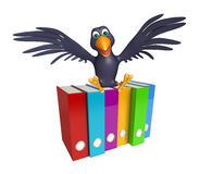 Crow cartoon character  with files Stock Image