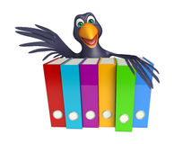 Crow cartoon character  with files Stock Photography