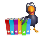 Crow cartoon character  with files Stock Photo