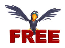 Crow cartoon character with free sign Royalty Free Stock Photo