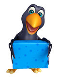 Crow cartoon character  with giftbox Stock Photo