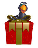 Crow cartoon character  with giftbox Royalty Free Stock Photos