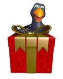 Crow cartoon character  with giftbox Royalty Free Stock Photos