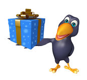 Crow cartoon character  with giftbox Royalty Free Stock Photography