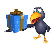Crow cartoon character  with giftbox Royalty Free Stock Images