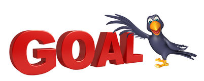Crow cartoon character with goal sign Royalty Free Stock Photo