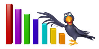 Crow cartoon character with graph Royalty Free Stock Photography