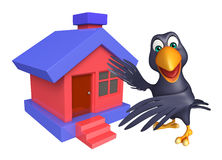 Crow cartoon character with home Stock Image