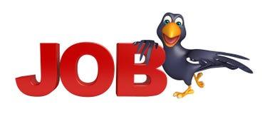 Crow cartoon character with job sign Stock Image