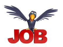 Crow cartoon character with job sign Royalty Free Stock Photo