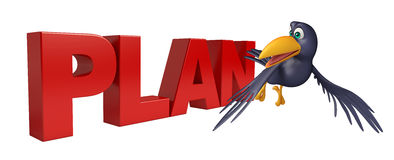 Crow cartoon character  with plan sign Royalty Free Stock Photos