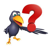 Crow cartoon character with question sign. 3d rendered illustration of Crow cartoon character with question sign Stock Image