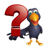Crow cartoon character with question sign Stock Photo