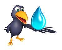 Crow cartoon character with water drop Stock Photos