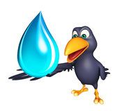 Crow cartoon character with water drop Royalty Free Stock Photo