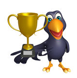 Crow cartoon character with winning cup Stock Image