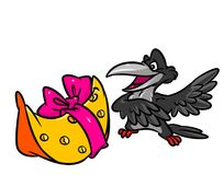 Crow and cheese fable cartoon illustration Stock Photography
