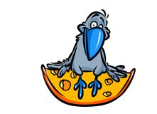 Crow and cheese fable cartoon illustration Royalty Free Stock Photography
