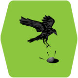 Crow and clam illustration Royalty Free Stock Photo