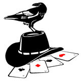 The Crow and the cowboy hat Stock Image