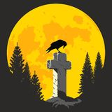 Crow on a cross in the moonlight Royalty Free Stock Images