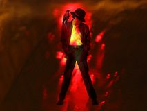 Crow Dancer. A man with a crow on his shoulder dancing in a flames effect Stock Photo