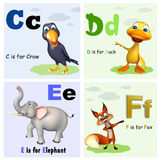 Crow ,Duck, Elephant and Fox with Alphabate Stock Photos