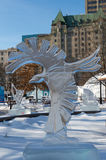 Crow eagle ice sculpture at Ottawa`s Winterlude Royalty Free Stock Image