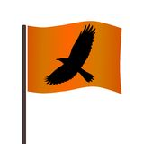 Crow on the flag Royalty Free Stock Photography