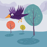 Crow flying over tree. Vector cartoon landscape. Stock Photo