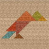 Crow folded from geometric shapes, tangram, background with text stock illustration