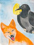 The crow and the fox. Illustration to the fable. The crow holds the cheese in its beak. Fox looking at a crow. Watercolor stock illustration