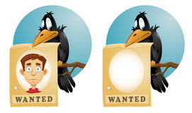 Crow  holds  wanted poster Stock Image