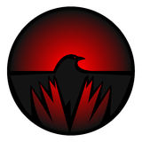 Crow icon. Crow eye and wings circle icon red Stock Photography