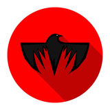 Crow icon. Crow eye and wings red circle icon Royalty Free Stock Photo