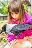 Crow and a little girl. Little girl is holding a bird with a broken wing stock images