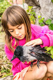 Crow and a little girl. Little girl is petting a bird royalty free stock image