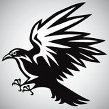 Crow Logo Black and White Vector. Design Stock Photos