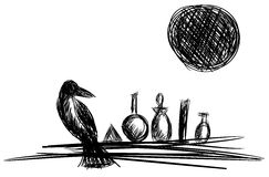 Crow with moon and alchemical bottles. Image representing a crow with alchemical bottles. An idea for alchemy projects or books vector illustration