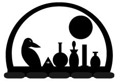 Crow with moon and alchemical bottles. Image representing a crow with alchemical bottles. An idea for alchemy projects or books stock illustration