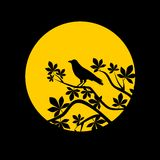 Crow and moon at night. On black background Royalty Free Stock Image