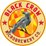 Crow Perched Microbrewery Circle Low Polygon Stock Image