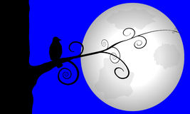 Crow perched on Moonlit Tree. Spooky illustration of a silhouette of crow perched on artistic swirled branch. Giant full moon lights up the night sky Royalty Free Stock Photos