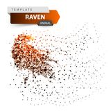 Crow, raven - glare dot illustration. vector illustration