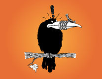 Crow with Rope Tied Around its Beak. A hand-drawn illustration of a black crow with a rope tied around its beak. This is a satiric effort to depict how crows are vector illustration